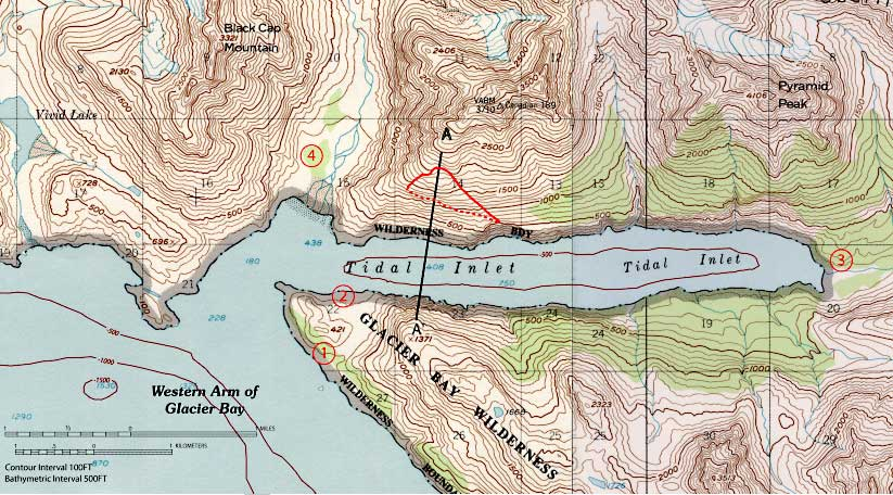 Figure 3 Topographic Map Of Tidal Inlet Glacier Bay Alaska