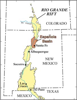General map showing location of study area in relation to the larger Rio Grande rift