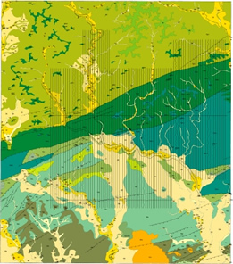 Geologic map with flight lines shown (dimly; the image is greatly reduced in size)