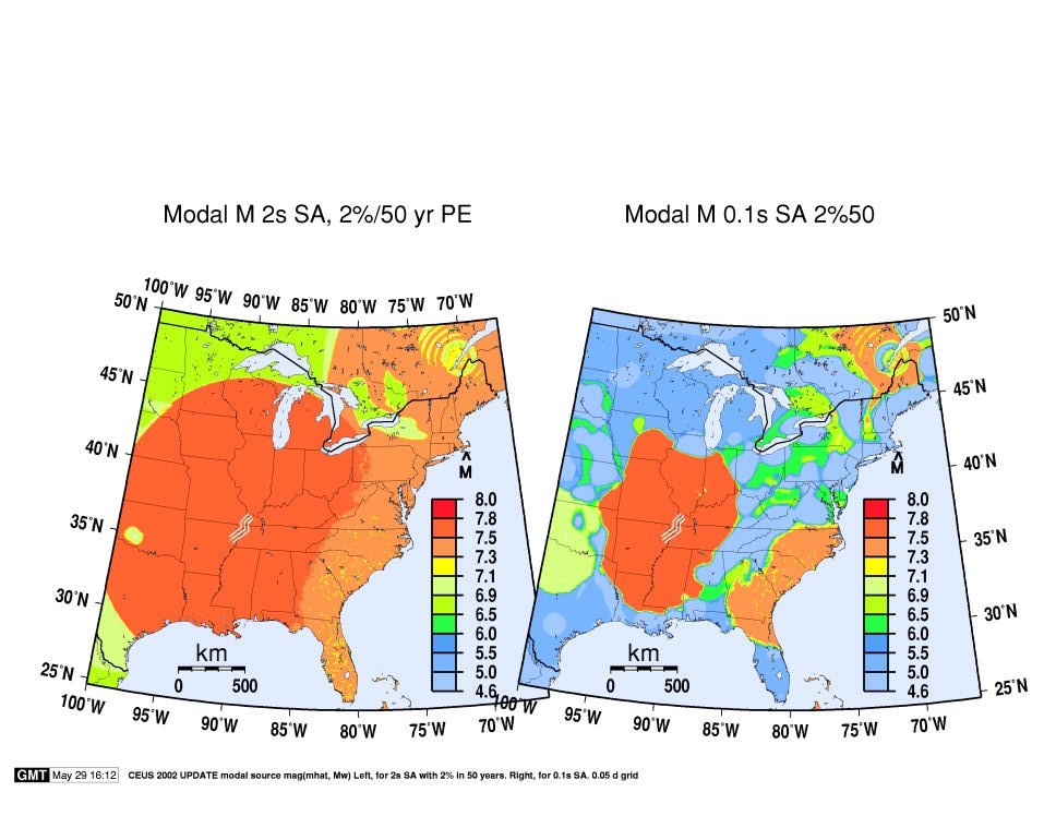 maps of modal event magnitude or mhat in the central and eastern u s for the psha model of frankel et al 2002 for the 2 in 50 year probability of