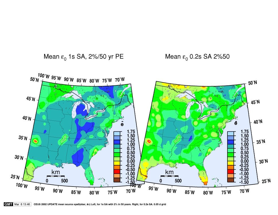 maps of mean event e0 or epsilon sub zero bar in the central and eastern u s for the psha model of frankel et al 2002 for the 2 in 50 year