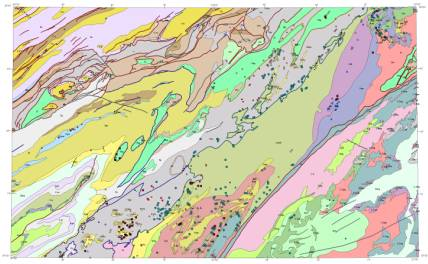 Reduced-size image of the map sheet showing geologic units and geologic faults.