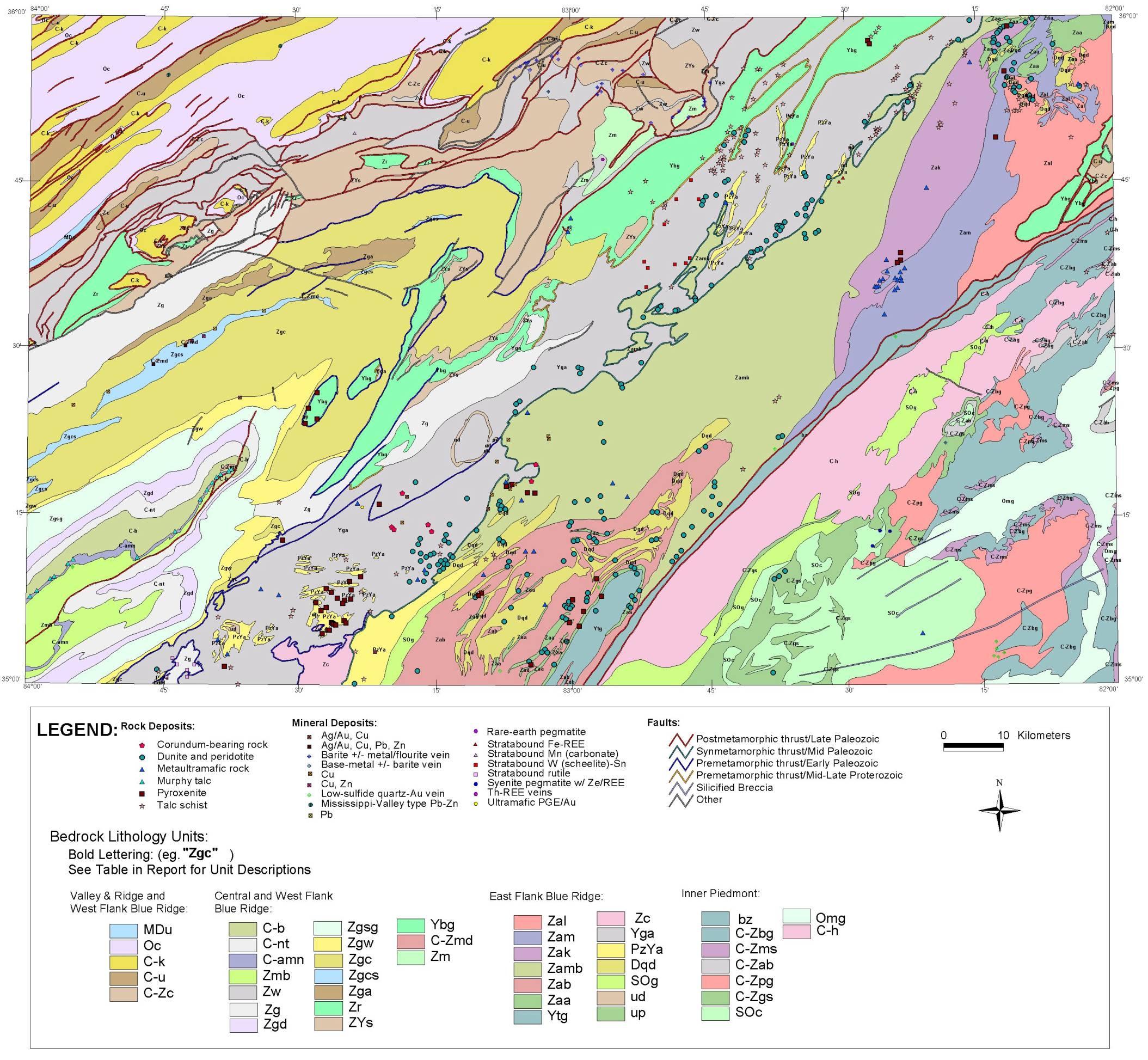 map image knoxville quadrangle - bedrock geology image