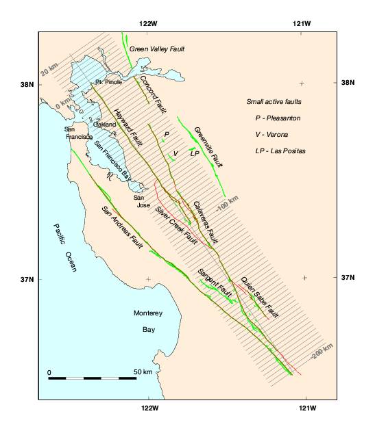 CrossSections And Maps Showing DoubleDifference Relocated - San jose earthquake map usgs