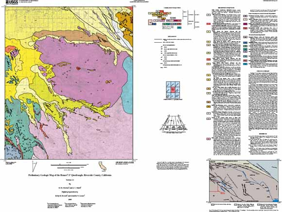 Preliminary Geologic Map Of The Hemet Quadrangle Riverside - California map riverside county