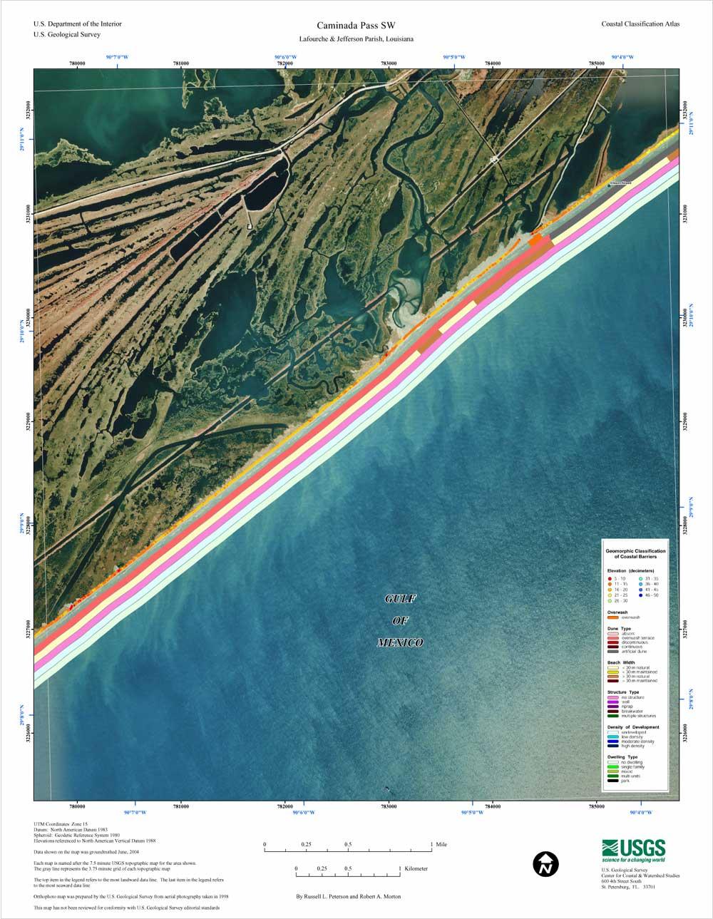 Caminada Pass SW Coastal Classification Atlas Southeastern - 8 1 2 x 11 us map