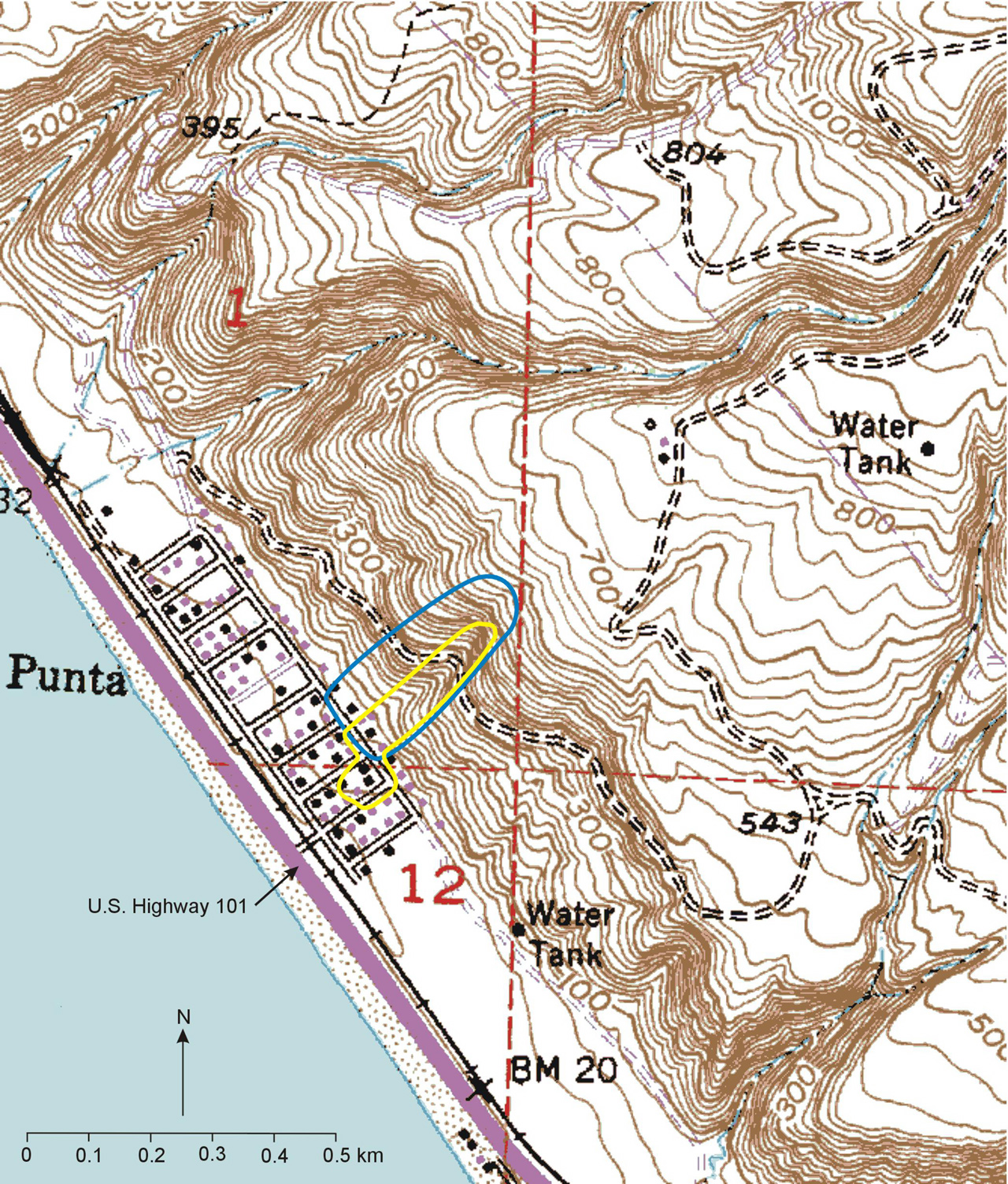 USGS OF Landslide Hazards At La Conchita California - Elevation map of california