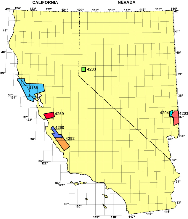Index map showing locations of studies within the two states, with coordinate grid