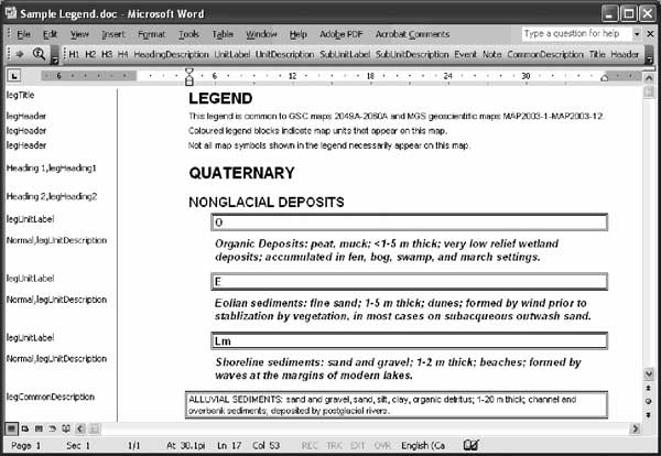 how to put legend in microsoft word
