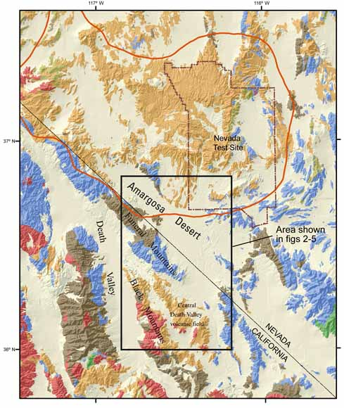 Index map showing location of Amargosa Desert basin study area (outlined) and distribution of main geologic units of the surrounding region