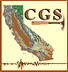 California Geological Survey logo in the shape of a map of the state with a rock hammer in front of it