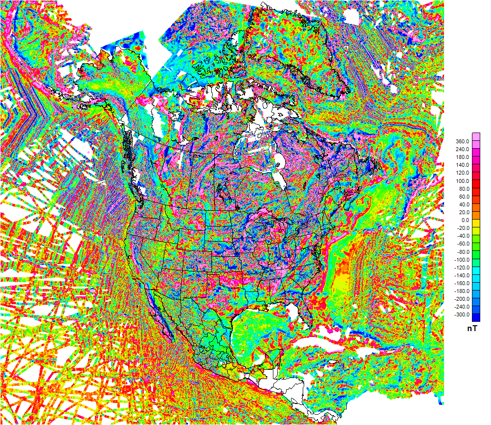 Reduced-size map image of the aeromagnetic anomaly for North America including surrounding oceans