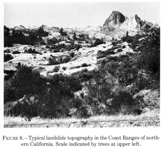 Typical Landslide Topography In The Coast Ranges Of Northern California