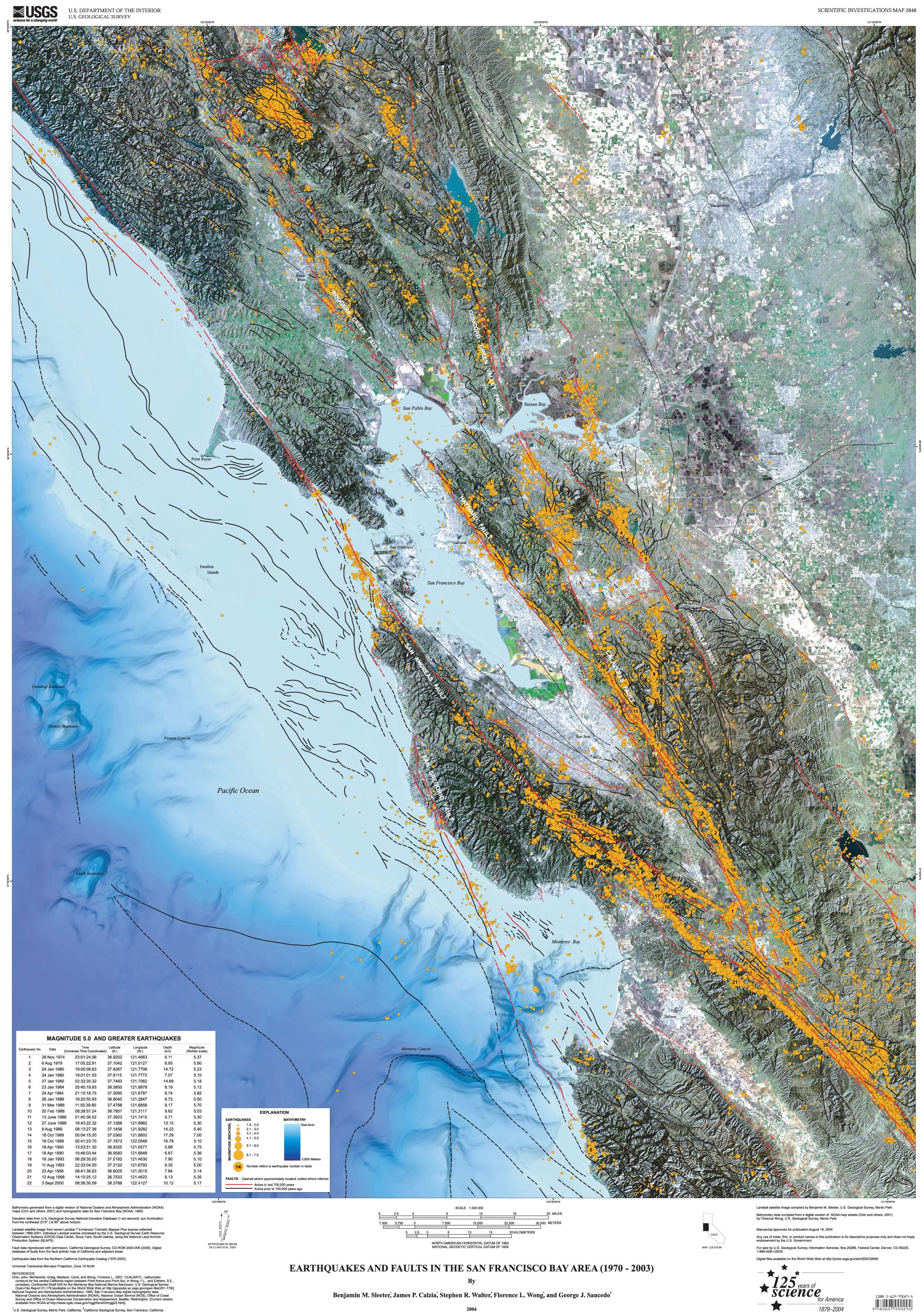 view the earthquakes and faults map . earthquakes and faults in the san francisco bay area ()