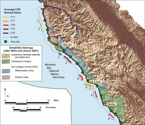 Map Showing Coastal Cliff Retreat Rates Along The Big Sur Coast
