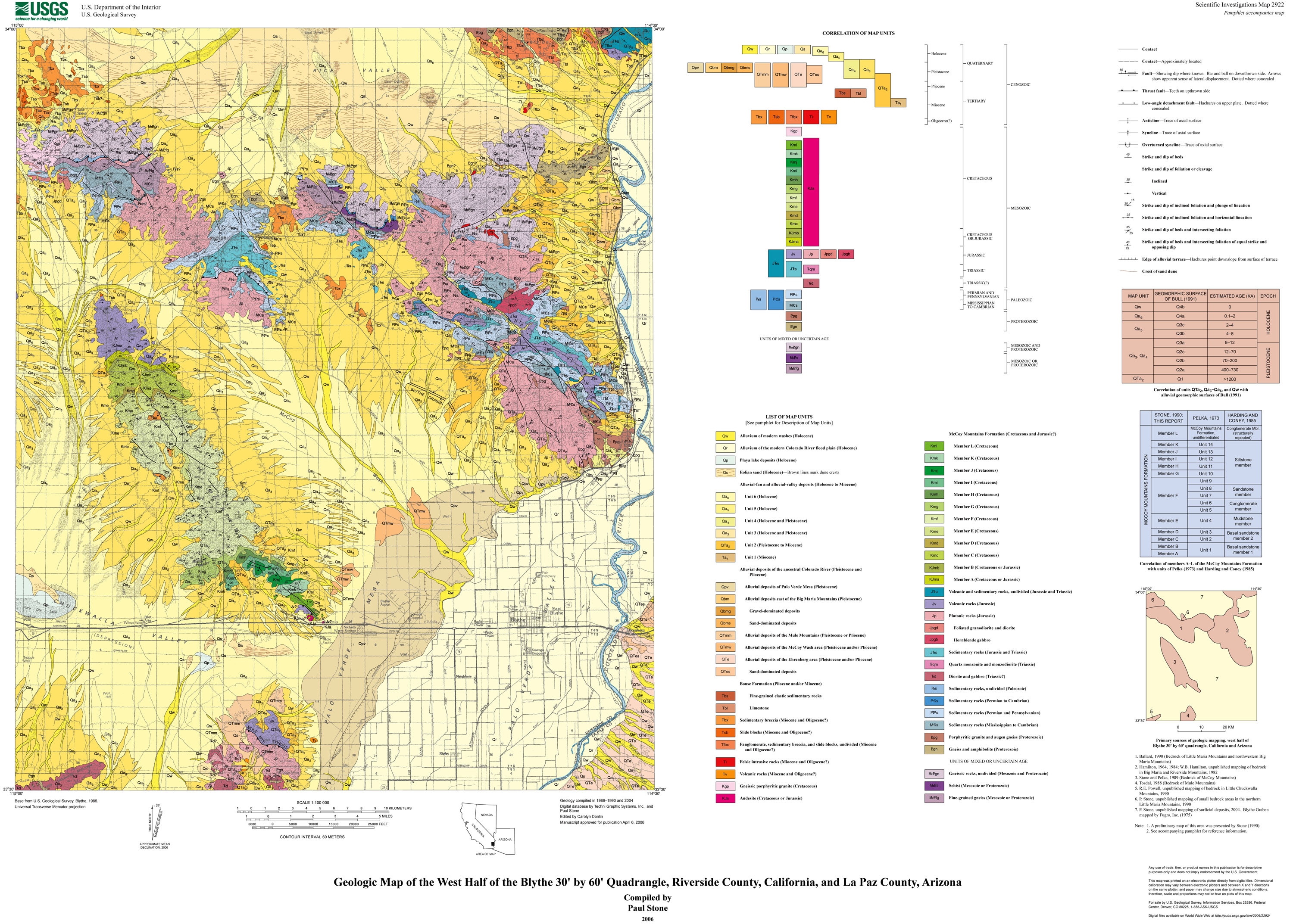 Geologic Map Of The West Half Of The Blythe By Quadrangle - California map riverside county