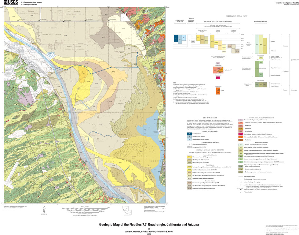 Map Of California And Arizona Together.Geologic Map Of The Needles 7 5 Quadrangle California And Arizona