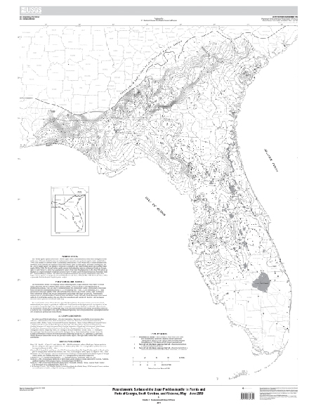 Map Of Upper Florida.Usgs Scientific Investigations Map Potentiometric Surface Of The