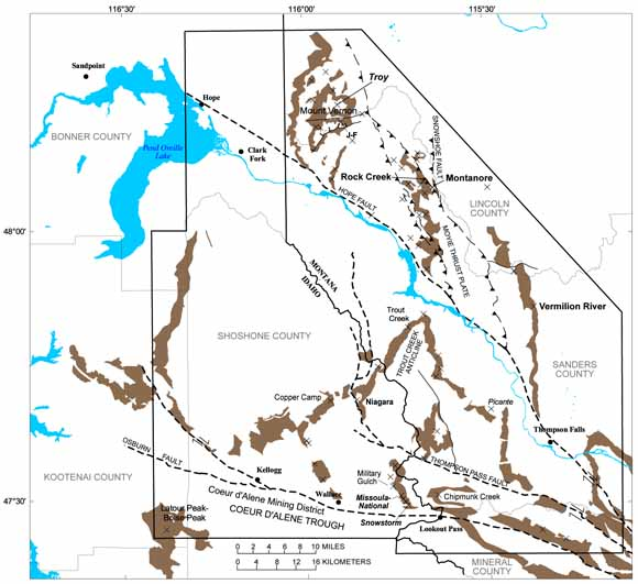 Western Montana and northern Idaho, showing locations of study area, major faults, and stratabound copper-silver deposits in the Revett Formation