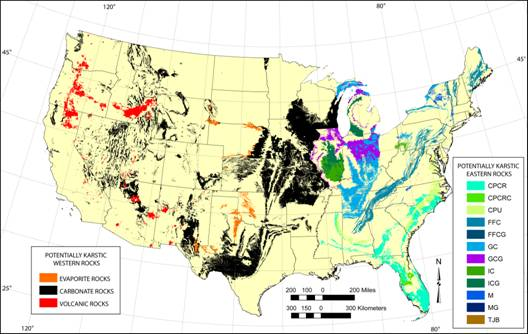 potentially karstic areas of the conterminous united states delineated from mapping of surficial expression of carbonate evaporate and relatively young