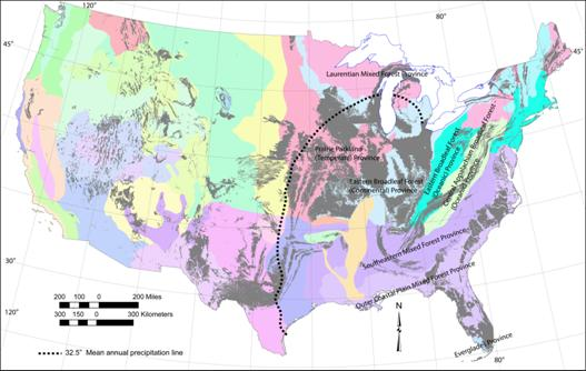 Map Of The Conterminous United States Showing Ecologic Provinces Only Some Labeled 32 5 In 826 Mm Mean Annual Precipitation Line From Figure 3