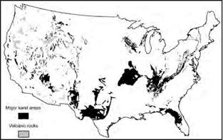 map of lower 48 states showing areas of karst