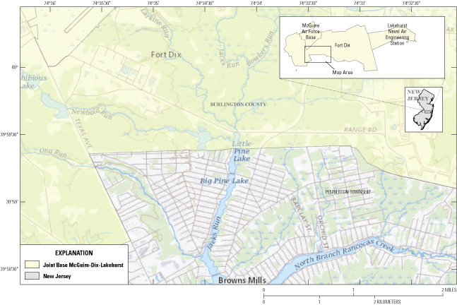 Several streams flow into Little Pine Lake, which crosses the southern border of the                      base and flows south into Big Pine Lake in a residential area.