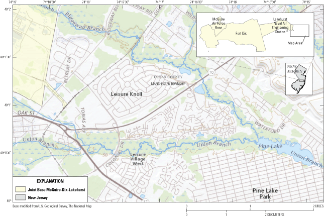 Union Branch and Ridgeway Branch flow southeast into Pine Lake, located in a residential                      area east of the base.