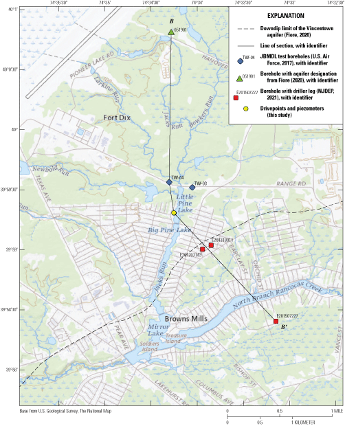 Boreholes around Little Pine Lake, connected with a line of section.