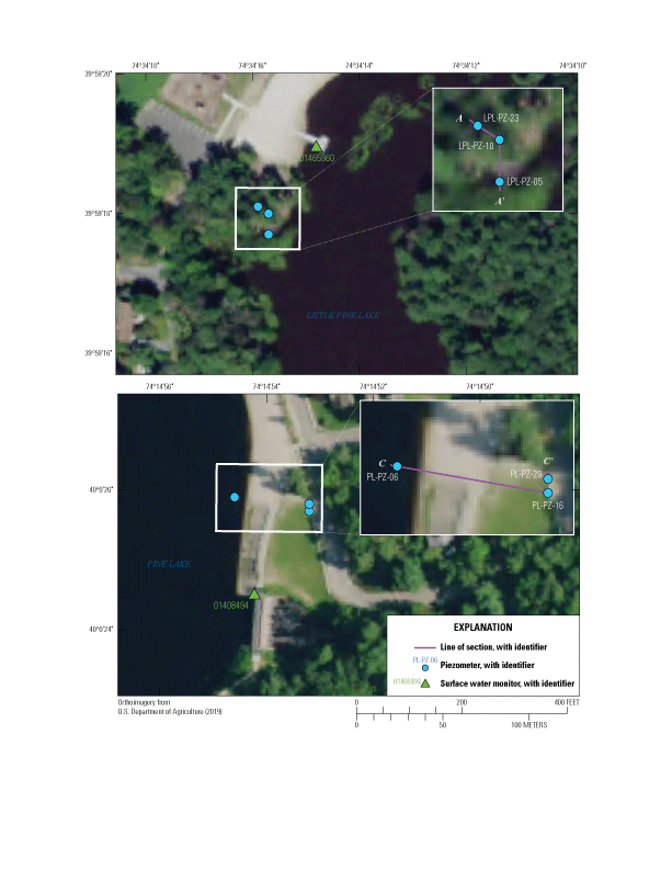 Piezometers and surface water monitor locations at Little Pine Lake and Pine Lake                         sites, connected by lines of section.