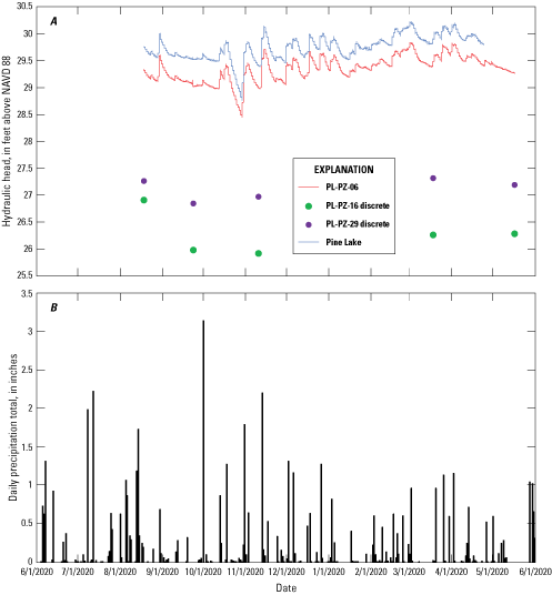 A, continuous and discrete water-level fluctuations during the study period for Pine                         Lake surface water and three piezometers, and B, precipitation amounts during the                         study period.